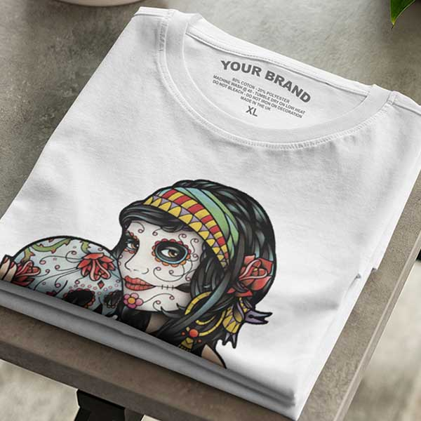 Gypsy skull t-shirt printed with DST transfers