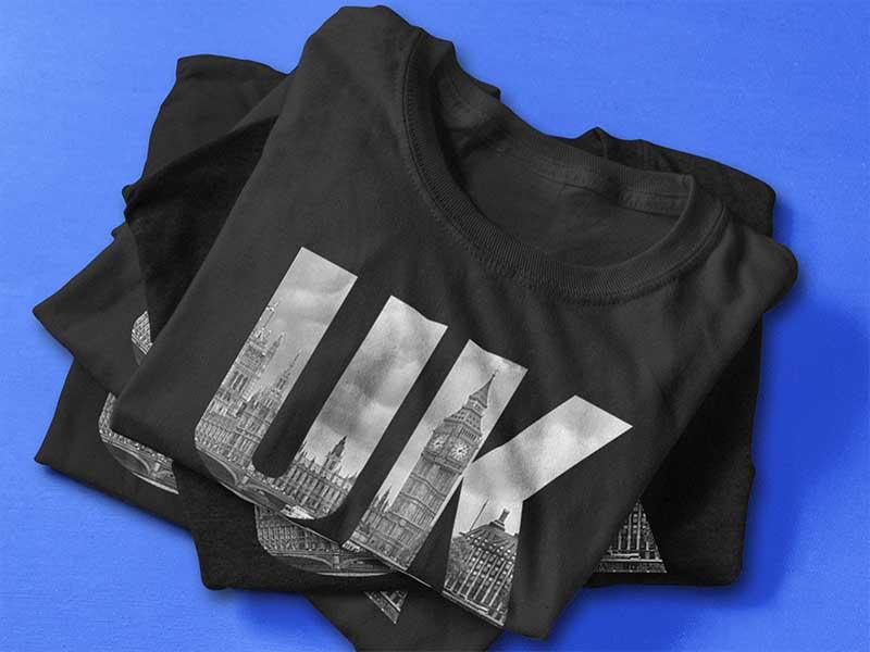 UK design t-shirt printed using DST transfers