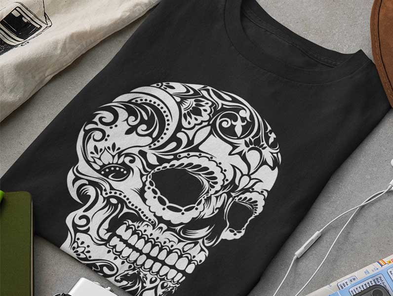 Skull t-shirt printed using Eco-friendly water-based transfers