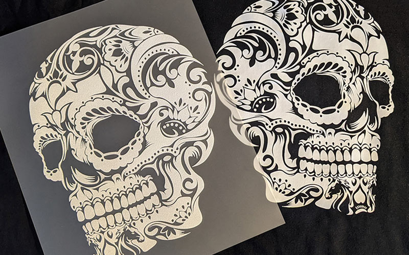 Example of a skull transfer printed using out eco-friendly transfer process