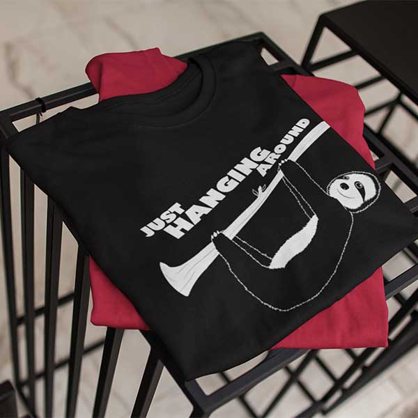 Just Hanging T-shirt with plastisol transfers
