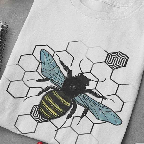Bee t-shirt printed using traditional screen printing