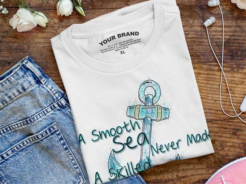 Anchor t-shirt printed using traditional screen printing