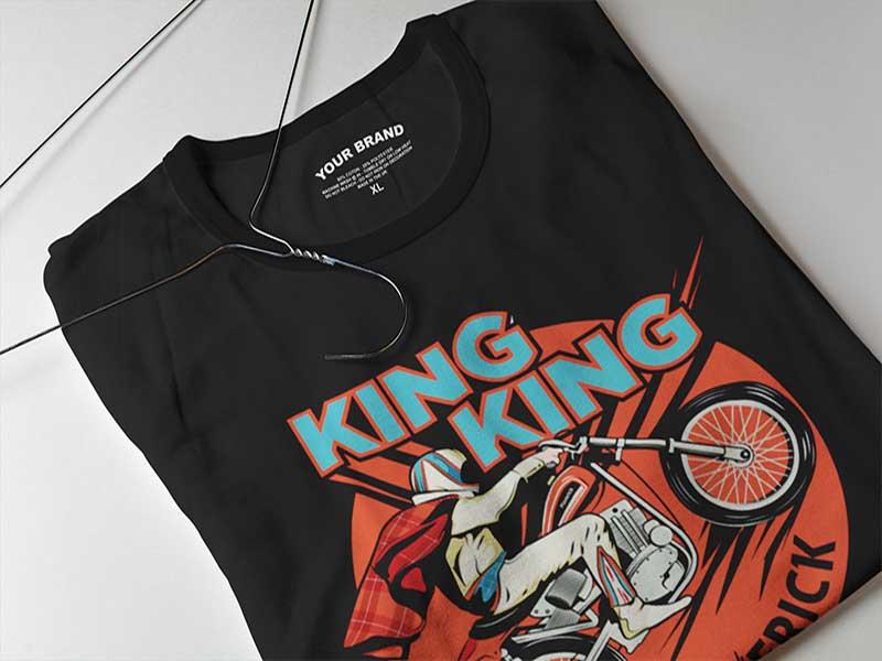 King King t-shirt printed using traditional screen printing at our Loughborough facility